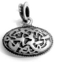 Midgard Serpent Oval Pendant Antique Silver