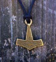 Thors Hammer Pendant Brass Plated